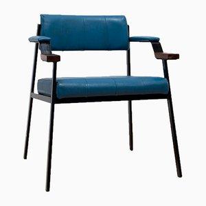 Moderner Armlehnstuhl aus Teak & schwarzem Metall, 1960er