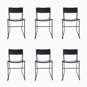Italian Sultana Dining Chairs in Metal and Leather from Arrben, 1970s, Set of 6