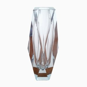 Vintage Clear Faceted Murano Glass Vase