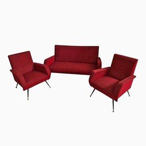 Rotes italienisches Mid-Century Sofa & 2 Armlehnsessel
