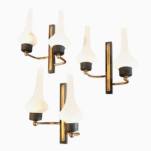 Mid-Century Modern Italian Wall Sconces, 1950s, Set of 3
