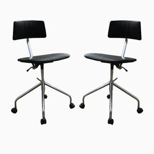 Danish Office Chairs in Chrome and Black Skai from SIS, 1960s