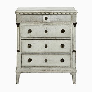 Antique Gustavian Chest with Bronze Mounted Columns, 1790s