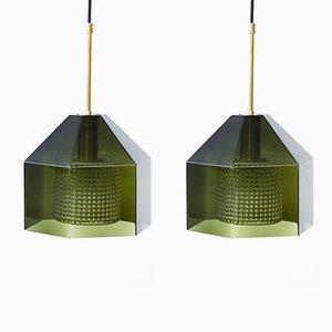 Lámparas colgantes de latón y vidrio de Carl Fagerlund para Orrefors, años 60. Juego de 2