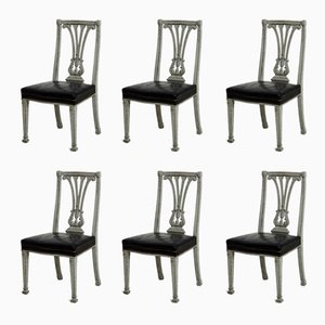 19th Century Large Gustavian Style Dining Chairs, Set of 6