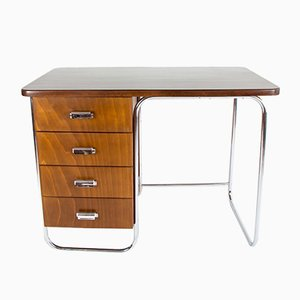 Vintage Schreibtisch mit Stahlrohr Untergestell