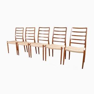 Moderne skandinavische Modell 82 Stühle aus Papierkordel mit hohen Rückenlehnen von N.O. Moller, 1954, 5er Set