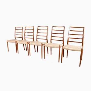 Scandinavian Modern Papercord Model 82 High Back Chairs by N.O. Moller, 1954, Set of 5