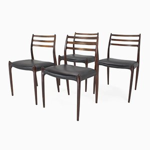 Mid-Century Model 78 Rosewood Dining Chairs by Niels Moller, Set of 4