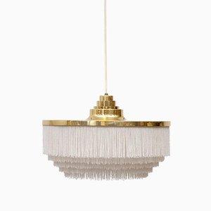 Lampe à Suspension à Frange Blanche par Hans-Agne Jakobsson, 1960s