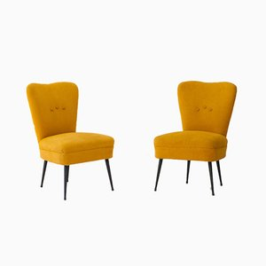 Gelbe italienische Sessel, 1950er, 2er Set