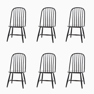 Black Wooden Dining Chairs by Bengt Akerblom & G. Eklöf for Akerblom, 1950s, Set of 6