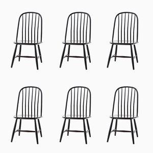 Esszimmerstühle aus schwarzem Holz von Bengt Akerblom & G. Eklöf für Akerblom, 1950er, 6er Set