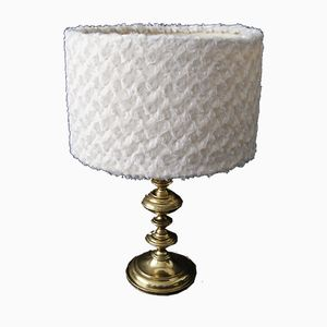 French Brass and Faux Fur Table Lamp, 1970s