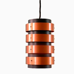 Lámpara colgante danesa de metal negro y cobre, años 60