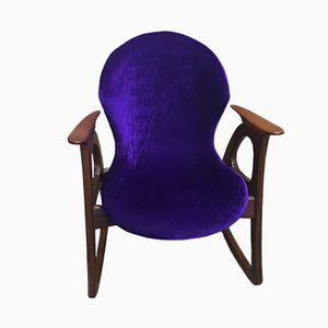 Teak and Purple Velvet Rocking Chair by Aage Christiansen for Erhardsen & Andersen, 1960s