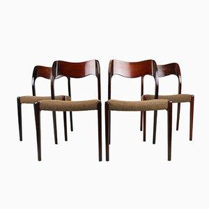 Dänische Vintage 71 Stühle aus Palisander & Wolle von Niels Otto Møller für J.L. Møllers, 4er Set