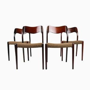 Vintage Danish 71 Chairs in Rosewood & Wool by Niels Otto Møller for J.L. Møllers, Set of 4