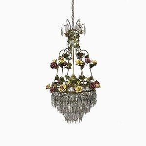 Lampadario vintage in cristallo con fiori in porcellana, Italia
