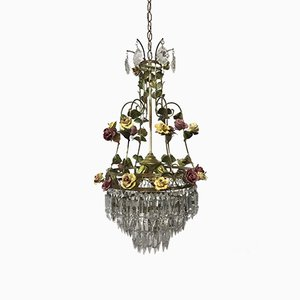 Vintage Italian Crystal Chandelier with Porcelain Flowers