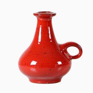 Rote Studio Keramik Vase von Manfred Buchholz, 1960er