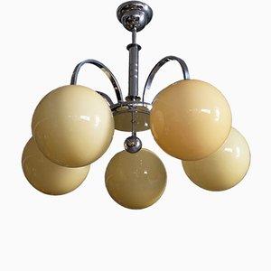 Lámpara de araña Art Déco de metal cromado y vidrio, años 40