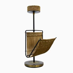 Vintage Brass & Suede Magazine Rack with Ashtray, 1960s