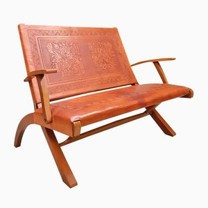 Vintage Leather Folding Sofa by Angel I. Pazmino for Muebles de Estilo, 1960s