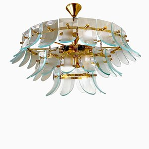 Chandelier in Murano Glass with Gilt Frame, 1970s