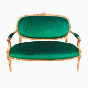 Sofá sueco en dorado y terciopelo verde, década de 1850