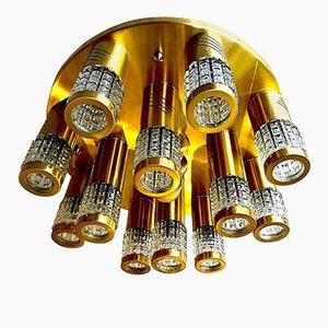 Lámpara de techo de cristal de Murano con estructura dorada de Gaetano Sciolari, años 70