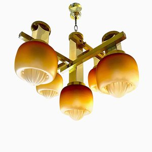 Chandelier by Gaetano Sciolari with Gold Mazzega Glass Shades, 1960s