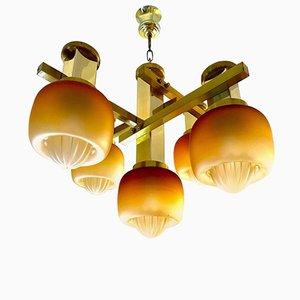 Lámpara de araña de Gaetano Sciolari con pantallas de vidrio doradas de Mazzega, años 60