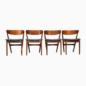 Vintage 7 Teak Esszimmerstühle von Helge Sibast für Sibast, 4er Set