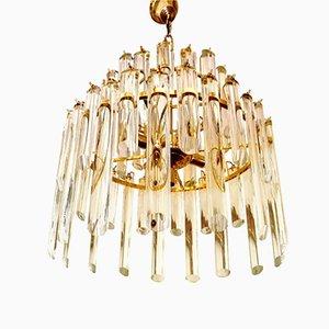 Lámpara de araña de cristal de Murano con 50 colgantes de vidrio y estructura dorada de Paolo Venini, años 70