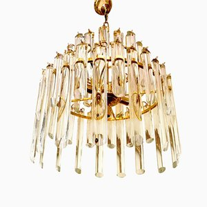 Murano Glass Chandelier with 50 Glass Pendants & Gilt Frame by Paolo Venini, 1970s