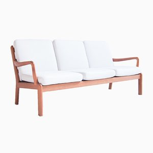 Danish 3-Seater White Sofa from L. Olsen & Son, 1960s