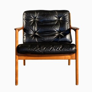 Black Leather USA-75 Easy Chair by Folke Ohlsson for Dux, 1960s
