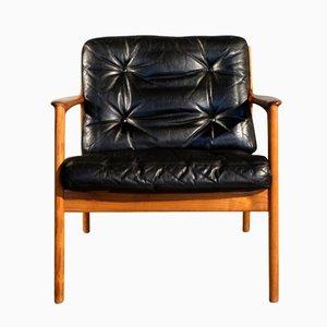 Poltrona USA-75 de cuero negro de Folke Ohlsson para Dux, años 60