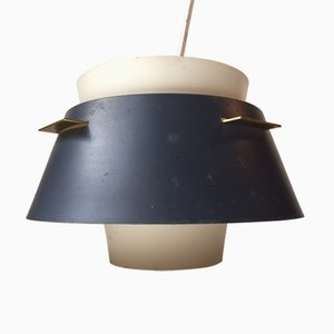 Danish Modern Grey & White Pendant Lamp by Birger Schmidt for Lyfa 1960s