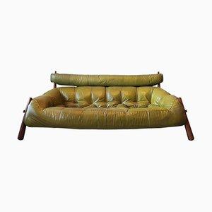 Brasilianisches 3-Sitzer Palisander & Leder Sofa von Percival Lafer, 1974