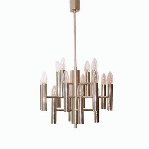 Lámpara de araña Sputnik geométrica de metal cromado con 16 luces, años 60