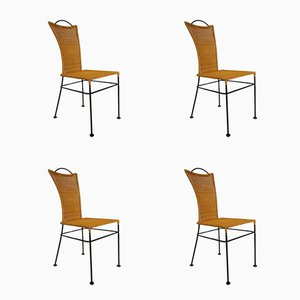 German Iron and Rattan Chairs, 1960s, Set of 4