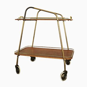 Mid-Century Brass Bar Cart with Teak Cabinets, 1950s
