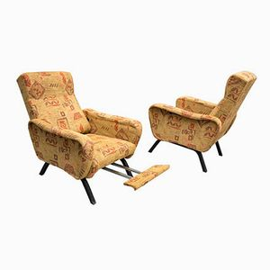 Vintage Italian Reclining Armchairs, 1950s, Set of 2