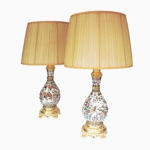 Lámparas de porcelana color crema de Zsolnay, finales del siglo XIX. Juego de 2