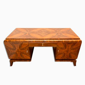 Art Deco Massive Walnut Writing Desk, 1930s