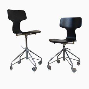 3103 Hammer Schreibtischstühle von Arne Jacobsen für Fritz Hansen, 1950er, 2er Set