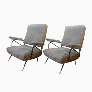 Mid-Century Reclining Armchairs, Set of 2
