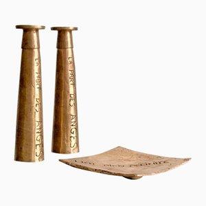Cenicero vintage de bronce y dos candeleros